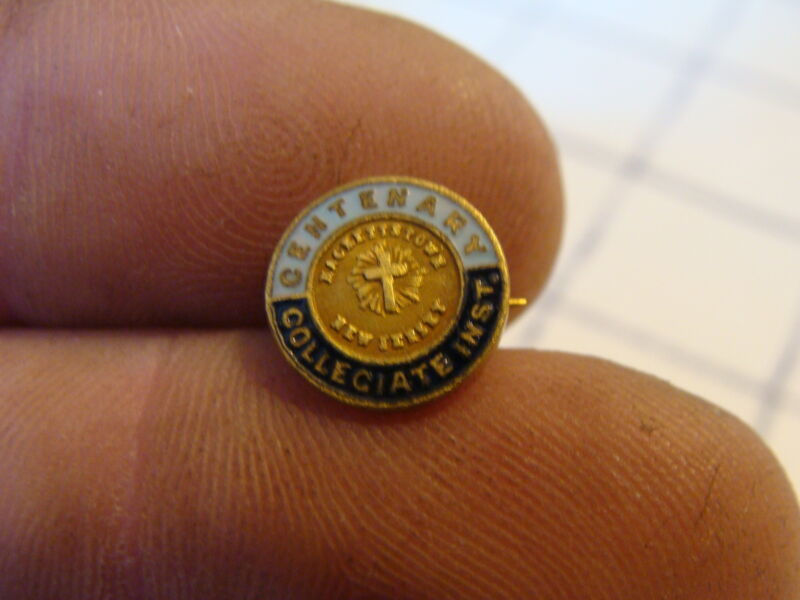 Original Vintage John Frick enamel pin: the CENTENARY Collegiate inst. NJ tiny