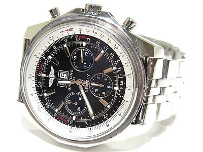 Breitling For Bentley Black Dial Stainless Steel Chronograph A44362 Watch