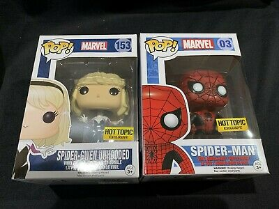 Funko Pop! Marvel Spider-Man #03 & Spider-Gwen Unhooded Hot Topic Exclusive