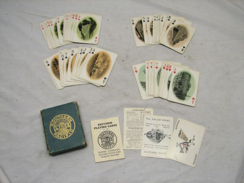 Vintage Southern Pacific Lines Playing Cards Souvenir Train Railroad Deck RR
