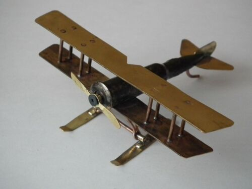 "WW1, WWI Russian Empire Airplane ""Лебедь XII"" model, Decor, Trench Art (1125)"