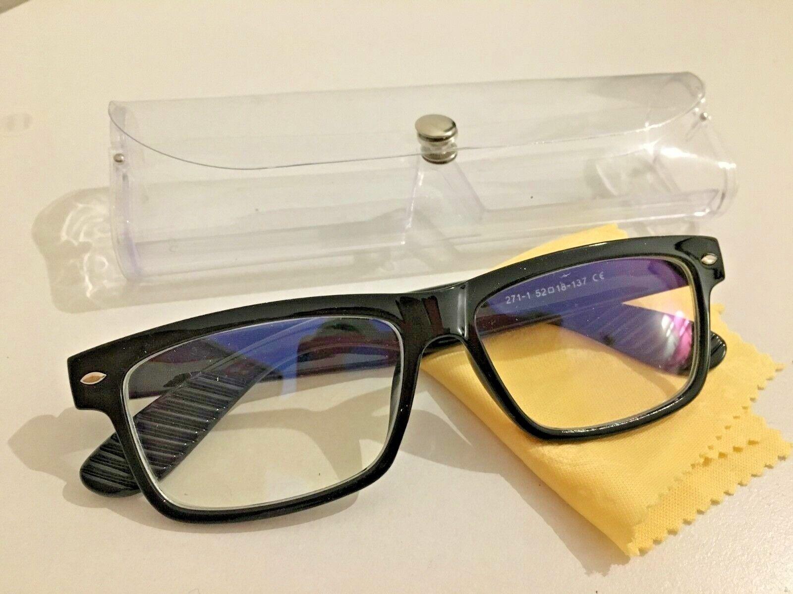 Brille Kurzsichtig RAY Putztuch Farbe Schwarz Stärke Fernbrille Modern + Etui