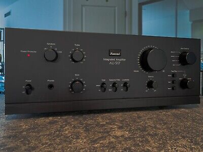 Sansui AU-517 integrated amplifier w/ rack handles, rear bumpers, orig. manuals