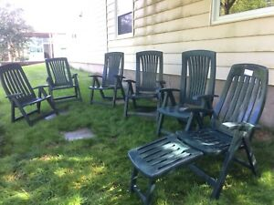3 Foldable recliners and lounger like new made in Canada