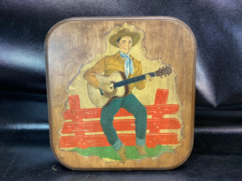 Cowboy Western Art Wood Decoupage Plaque Wall Hanging Vtg Country Singer