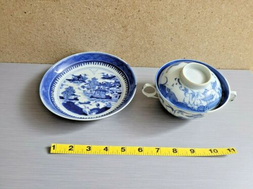 Chinese Blue White Porcelain Covered Double Handle Tea Cup & Bowl