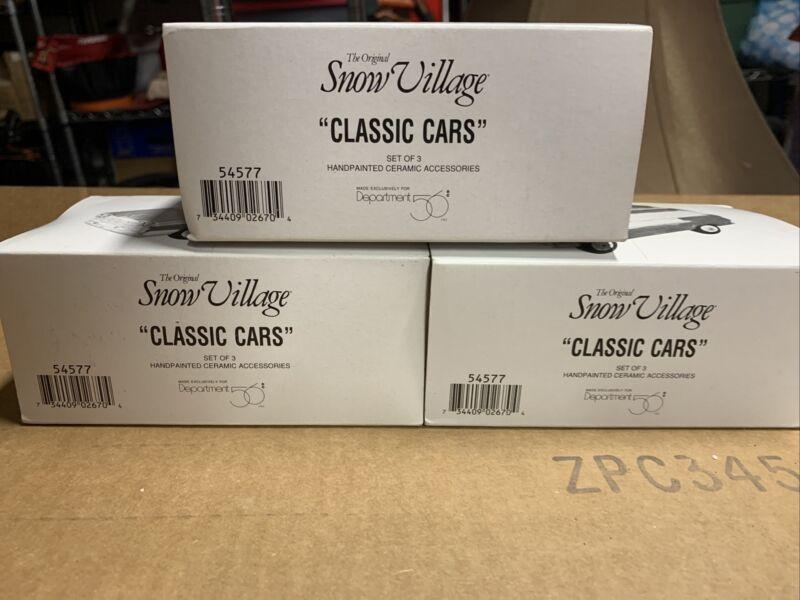 Dept 56 The Original Snow Village Classic Cars Set Of 3 In original boxes 54577