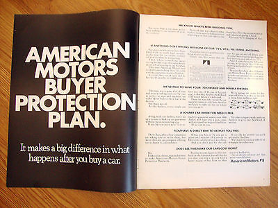 1972  American Motors Ad Buyer Protection Plan