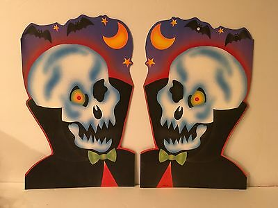 Vtg Eureka Diecut Skeletons Halloween Lot of 2 Moon Bats Decorations (Skeletons Halloween Decorations)
