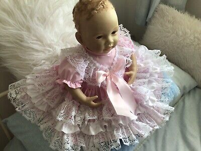 """Handmade. BABY 3-6MTHS or Reborn 22"""" Lacey Spanish Dress And Pants New"""