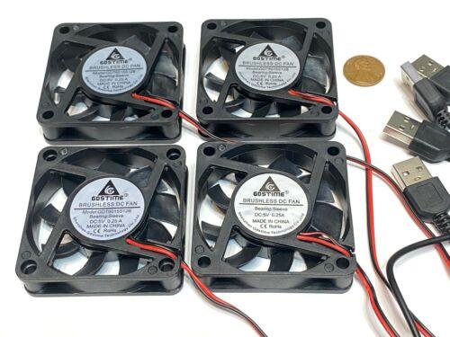 4 Piece USB plug Brushless Cooling Fan 5V 60mm x 15mm Computer Heatsink 6015 A45