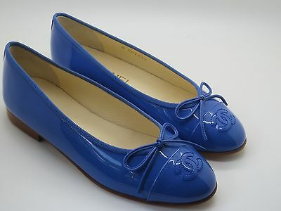 $750 Chanel Blue Patent Leather CC Cap Ballet Ballerina Flats 35.5 New