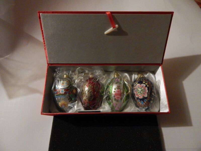 Joan Rivers Set of 4 Faberge Inspired  Egg Ornaments 2009   NIB