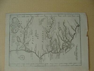 Antique 1757 Bellin Map Carte Des Pays Voisins Des Riv. De Sanaga Et Gambra