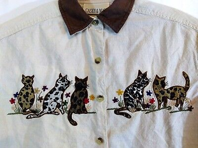 - Casey & Max Size Medium Checkered Top with Cats Embroidered across the front.