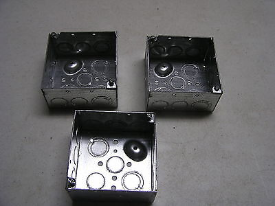 3 Pieces 4 Square Electrical Boxes Galvanized Metal 12 34 Knockouts