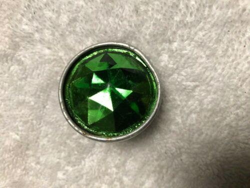 VINTAGE GREEN GLASS JEWEL DIAMOND CUT BICYCLE / MOTORCYCLE ORIGINAL REFLECTOR