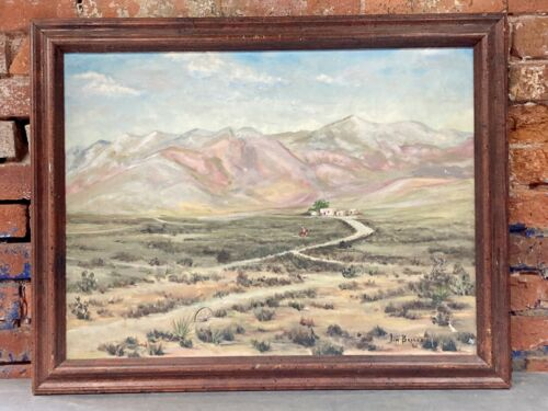 Jim Briskey 1982 WESTERN americana PAINTING cowboy art WEST OF EL PASO TEXAS oil