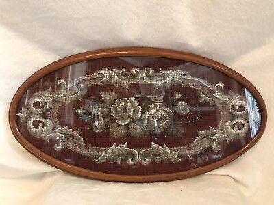 Antique 1800's Mahogany Wood English Victorian Hand Beaded Burgundy Tea Tray