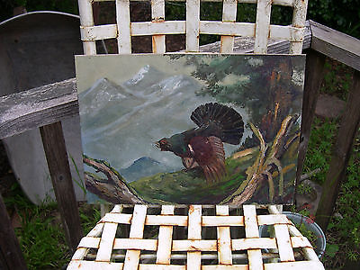 Original Vintage oil painting of a California Pheasent