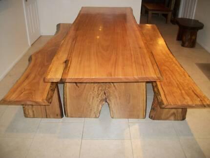BLACKBUTT HARDWOOD TIMBER SLAB DINING OUTDOOR TABLE & BENCH SEATS Panania Bankstown Area Preview