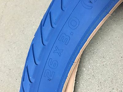 "Fat Tire beach cruiser tires - Set of Duro BLUE 26x3"" two NEW tires AND TUBES"