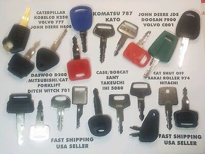 20 Operator Training Keys Cat Bobcat Volvo Jd Jds Komatsu Jcb New Holland