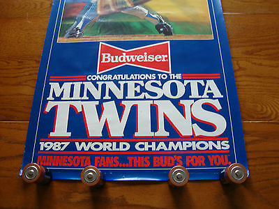 "BUDWEISER BEER POSTER  ""1987 MINNESOTA TWINS WORLD CHAMPIONS"""