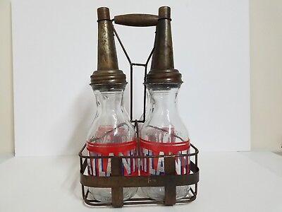 Atlantic Oil 1 Qt. Glass Bottles with Carrying Basket (4 Bottles)