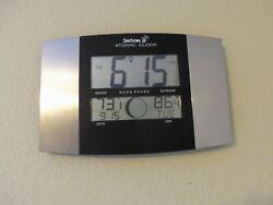 SKYSCAN Atomic Wall Desk Clock Digital Temperature Calendar Moon Phase 86722ALU