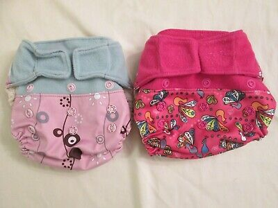 Lot 2 GroVia Cloth Diaper Shells Covers One Size Mod Flowers Peacock Hook & Loop