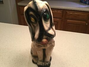 Early Vintage Chalkware Carnival Prize Hound Dog Statue Bassett Hound Adorable