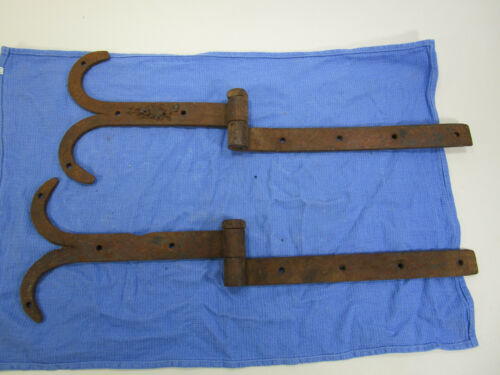 Antique Pair Primitive Hand Forged Rat Tail Iron Barn Door Strap Hinges
