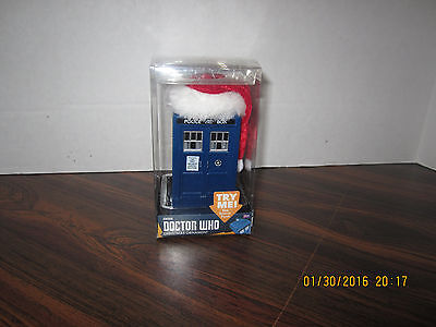 DR WHO TARDIS POLICE BOX CHRISTMAS ORNAMENT WITH A SANTA HAT Sound