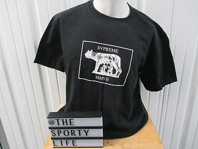 VINTAGE SUPREME Romulus and Remus BLACK LARGE T-SHIRT S/S 2007 PREOWNED