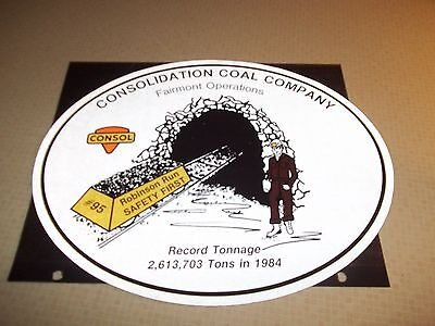 Nice Consol Coal Co  Coal Mining Sticker Measures 12 Inches Tall By 10 Long