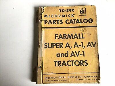 1960 Mccormick Tc-39c Parts Catalog Farmall Super A A-1 Av Av-1 Tractors S 32b