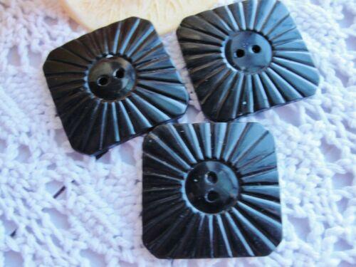 Estate Vintage Bakelite Button 3 Buttons Matching Set Star Burst Square Lot 0213