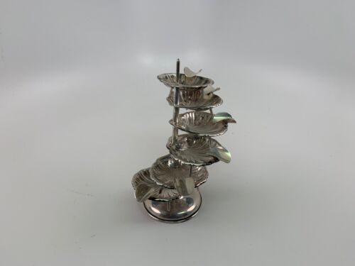 """Vintage Mexican Sterling Silver MCM """"Shell"""" Design 6 Piece & Stand Ashtray set"""