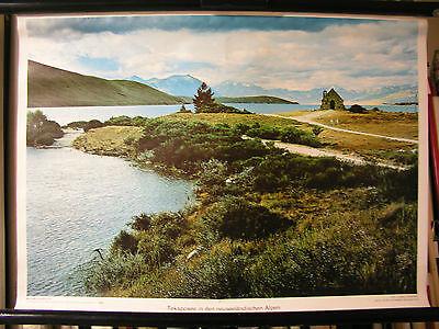 Schulwandbild Wandbild Tekaposee See Neuseeländische Alpen New Zeeland  72x51cm
