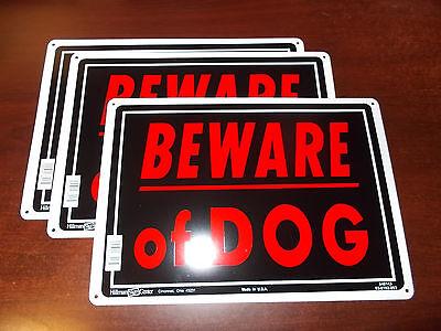"3 set BEWARE OF DOG 10"" x 14"" Aluminum ( metal ) Warning Sign Hillman preholes"