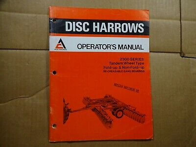 Allis Chalmers 2300 Series Disc Harrow Tandem Wheel Type Operators Manual 876