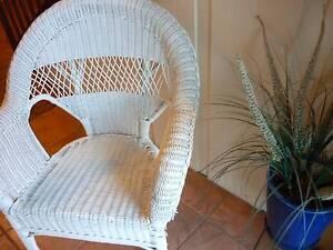 Vintage LARGE White Cane Chair, Corner Chair, Bedroom Chair. Prospect Launceston Area Preview