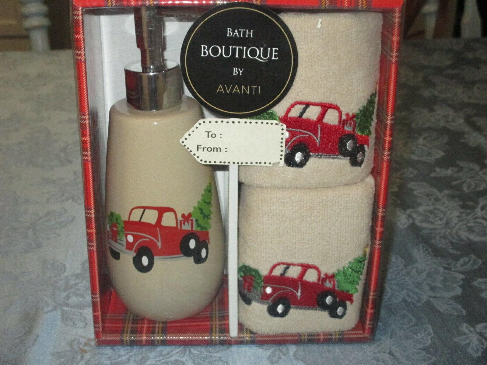 AVANTI CHRISTMAS BOXED BATH SET ~ PICKUP TRUCK SOAP DISPENSE