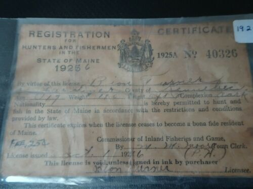1925 Maine Hunting and Fishing Registration Certificate