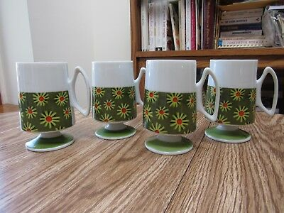 4 Vintage Funky Retro Pacesetter Modern Daisy Floral Design Footed Coffee Cups