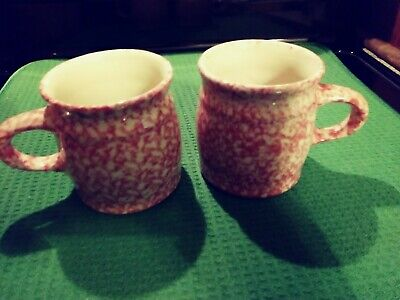 The Workshop of Gerald E. Henn Pottery Roseville Ohio Pink Spongeware 2 Cups/ Mu