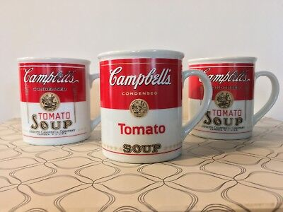 3 Campbell's Soup 125th Anniversary Collectible Coffee Mugs *GOOD CONDITION