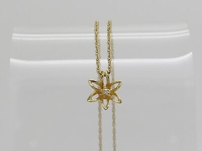 TINY 14k Yellow Gold Diamond CHIP Accent Open Flower Pendant Necklace 20