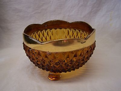 """Beautiful Amber Glass Footed Candy Dish/Bowl With """"Gold"""" Painted Trim!"""